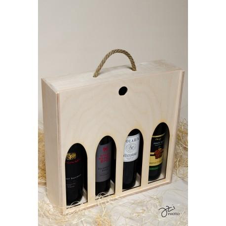 Drevená krabica na víno - 4 fľaše