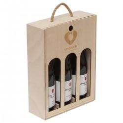 Drevená krabica na víno - 3 fľaše