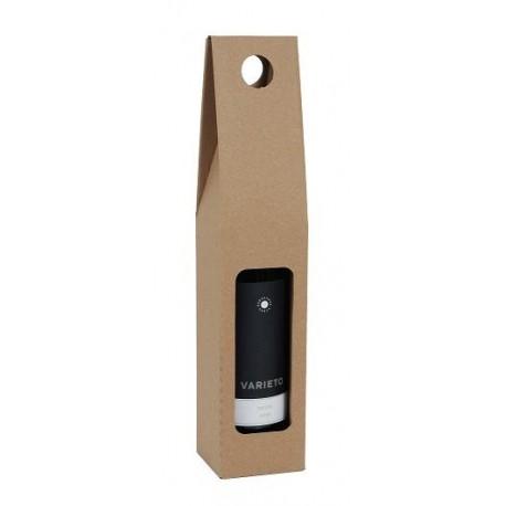 Darčekový kartónový box na 1 fľašu hnedý