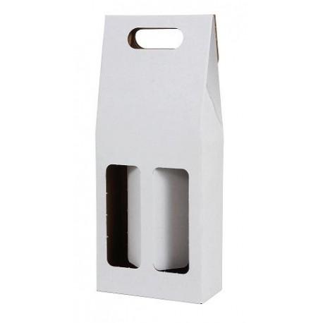 Darčekový kartónový box na 2 fľaše biely