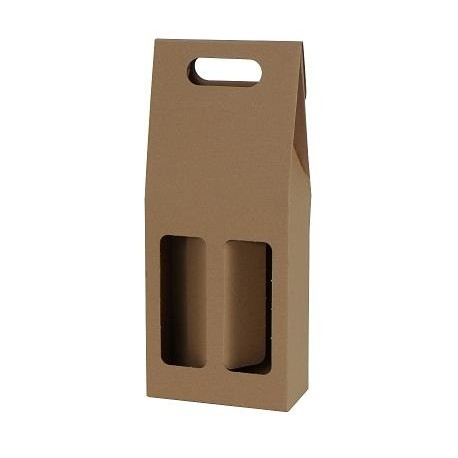 Darčekový kartónový box na 2 fľaše hnedý