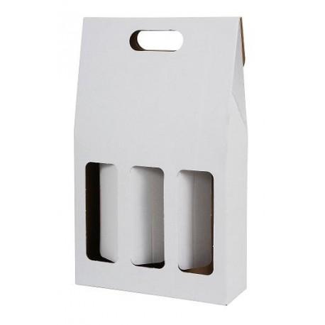 Darčekový kartónový box na 3 fľaše biely