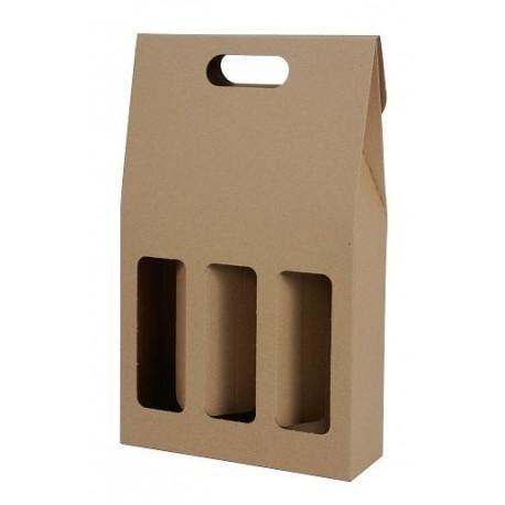 Darčekový kartónový box na 3 fľaše hnedý